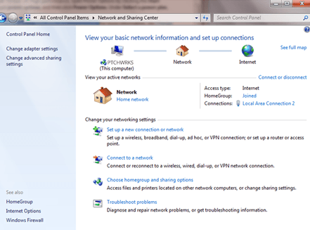 Go to Network & Sharing center on WIndows 7
