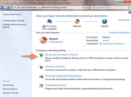 "On Windows 7 Click on ""Set up a new connection or network""."