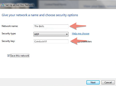 On Windows 7, Name your network and introduce a 5-digit password