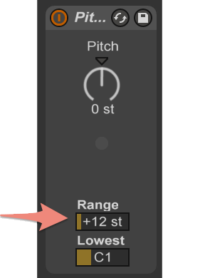 Set the Pitch Range parameter at +12 semitones (a complete scale).