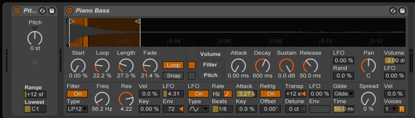 Load a MIDI Pitch plug-in and an instrument in a MIDI track.